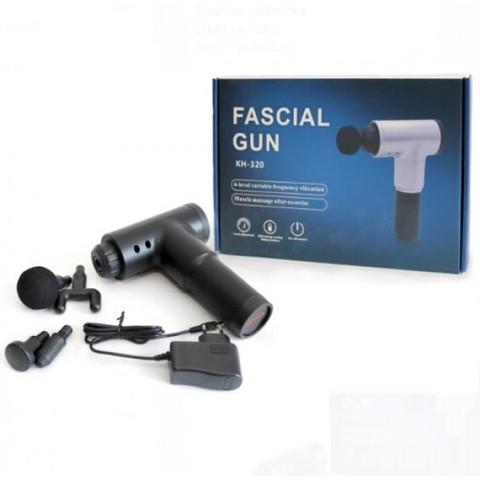 Вибромассажер ручной (массажный ударный пистолет) Fascial Gun KH-320 черный