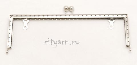 Фермуар Prym Lucia, цвет светлого металла, прямоугольный с шариками, размер 23*10 см, код 615151