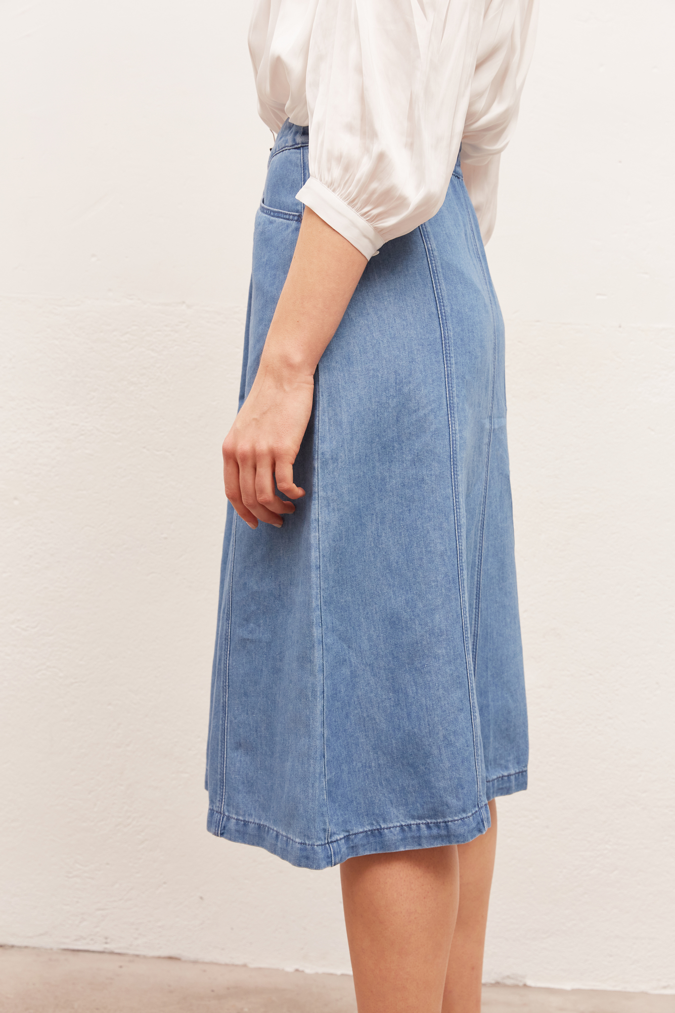 LILOU - Джинсовая юбка-миди А-силуэта