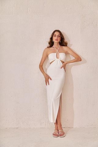 Платье миди в рубчик кремового цвета