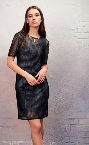 Фото черное платье с нижним топом прямого силуэта с глиттерным напылением - Платье З346-454 (1)
