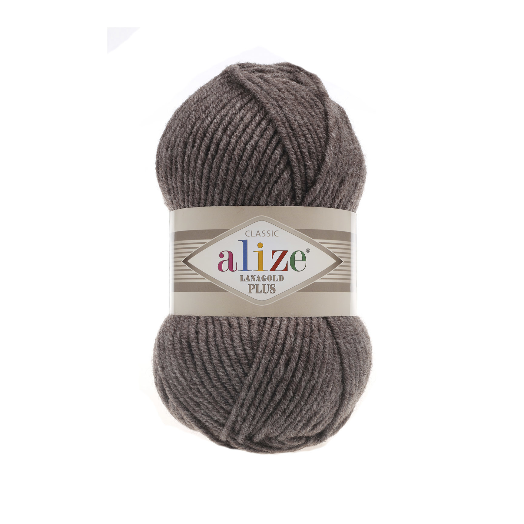 Пряжа Alize Lanagold Plus коричневый меланж 240