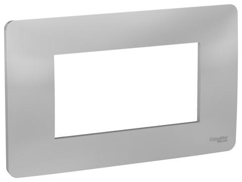 Рамка 4-модульная, Цвет Алюминий. Schneider Electric. Unica Modular. NU210430