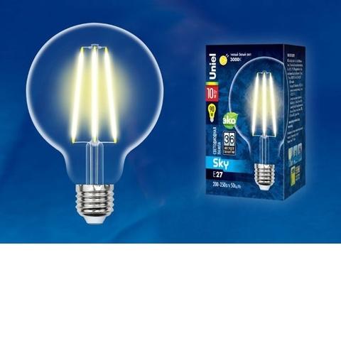 Лампа светодиодная UNIEL LED-G95-10W/3000K/E27/CL PLS02WH