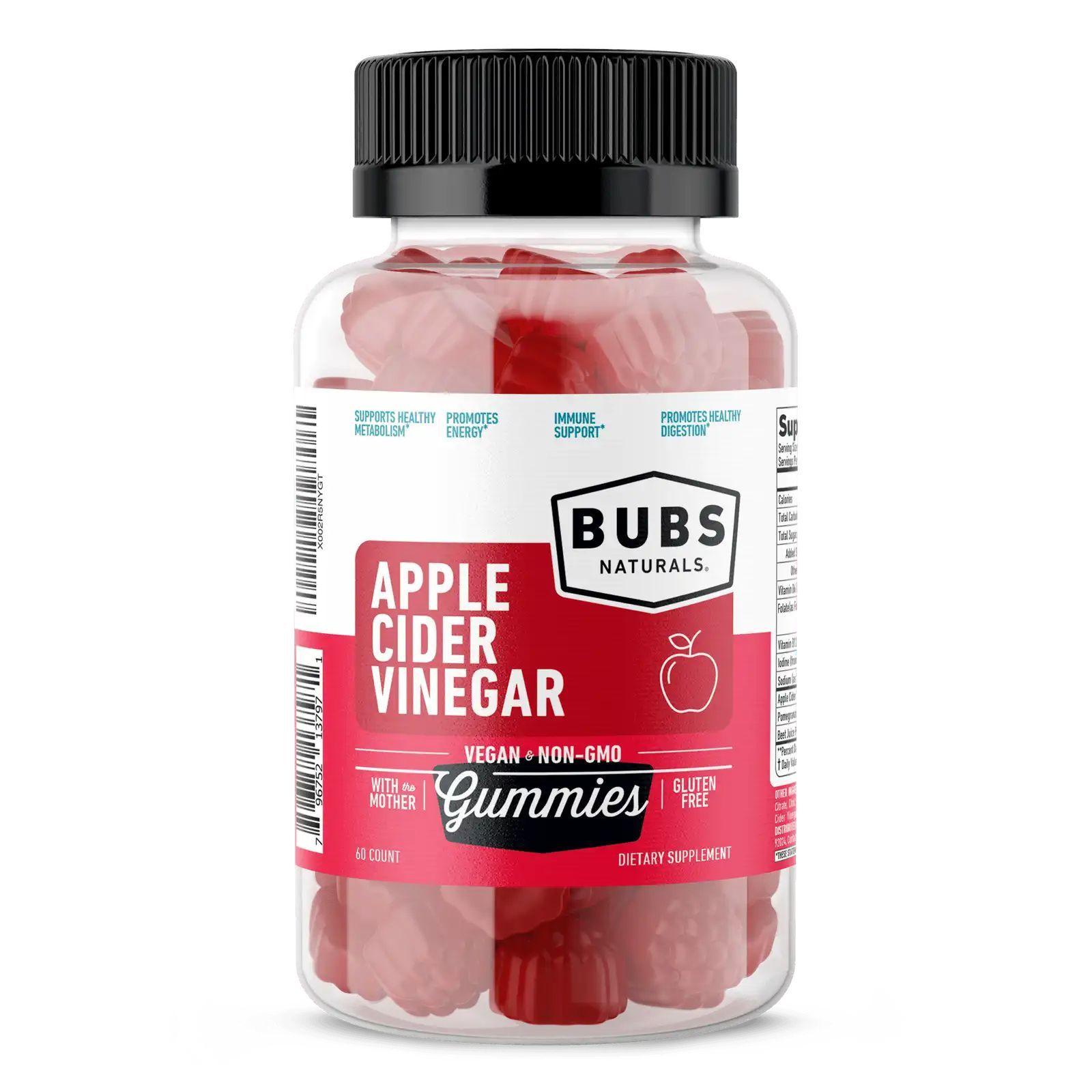 Жевательные конфеты с яблочным уксусом, Apple Cider Vinegar Gummies, Bubs Naturals, 60 шт
