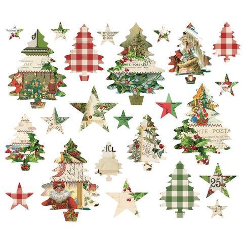 Высечки Simple Vintage Christmas Trees And Stars Die-Cuts -  24 шт.