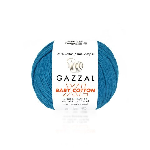 Пряжа Gazzal Baby Cotton XL 3428 бирюза
