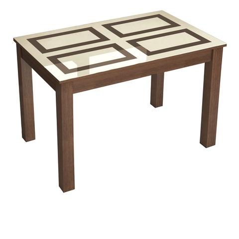 Стол обеденный нераскладной Норман 1100х700 ЛДСП, МДФ ТЭКС орех шоколадный, рисунок плитка