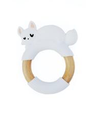 Силиконовый прорезыватель с деревянным кольцом МАМидея Лисенок (белый)