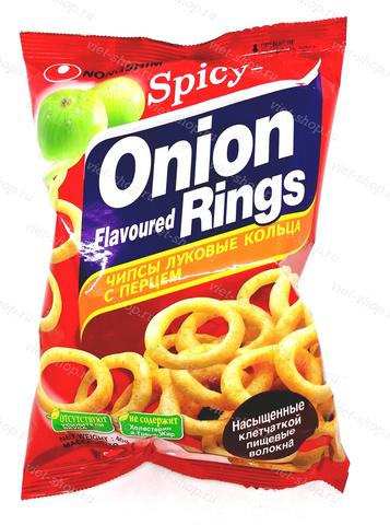 Чипсы луковые кольца с перцем Onion Rings Hot & Spicy, Корея, 40 гр.