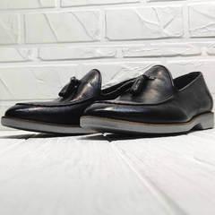 Кожаные туфли лоферы мужские лето Luciano Bellini 91178-E-212 Black.