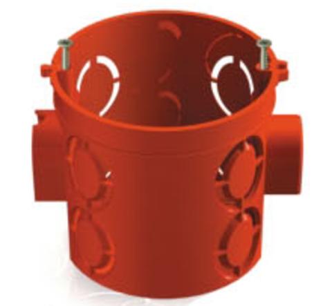 Установочная коробка СП D68х62мм, углубленная, саморезы, стыковочные узлы, красная, IP20, TDM