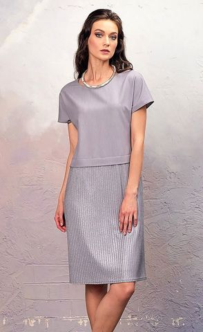 Фото серое плате с коротким рукавом и блестящей юбкой плиссе - Платье З345-138 (1)