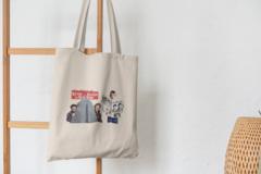Сумка-шоппер с принтом Один дома, Кевин Маккаллистер, Гарри и Марв (Home Alone) бежевая 003