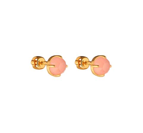 Серьги-гвоздики с розовым халцедоном в позолоте
