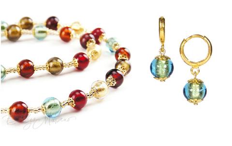 Комплект Carnevale Oro (изумрудные серьги Piccolo, ожерелье)