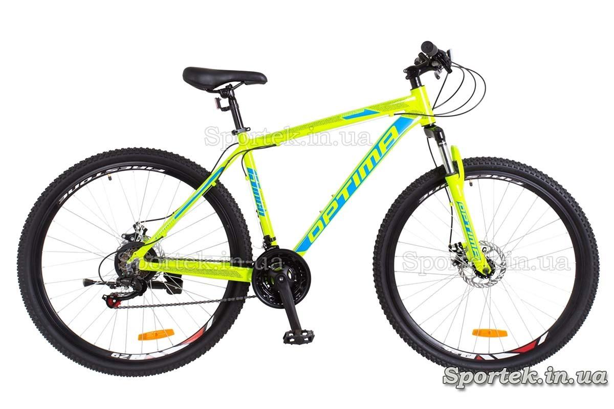 Горный мужской алюминиевый велосипед OPTIMABIKES MOTION AM DD - салатно-синий
