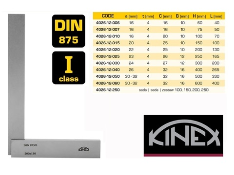 Угольник поверочный 100х70мм кл.1 (УШ- с шир. осн.) DIN875 Kinex 4026-12-010