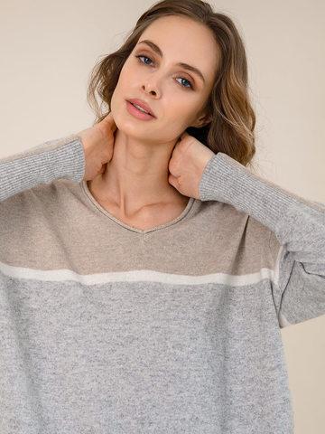 Женский джемпер светло-серого цвета из шерсти и кашемира с полосами - фото 3
