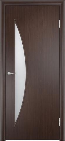 Дверь Сибирь Профиль Луна (С-6), цвет венге 3D, остекленная