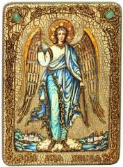 Инкрустированная икона Ангел Хранитель 29х21см на натуральном дереве в подарочной коробке