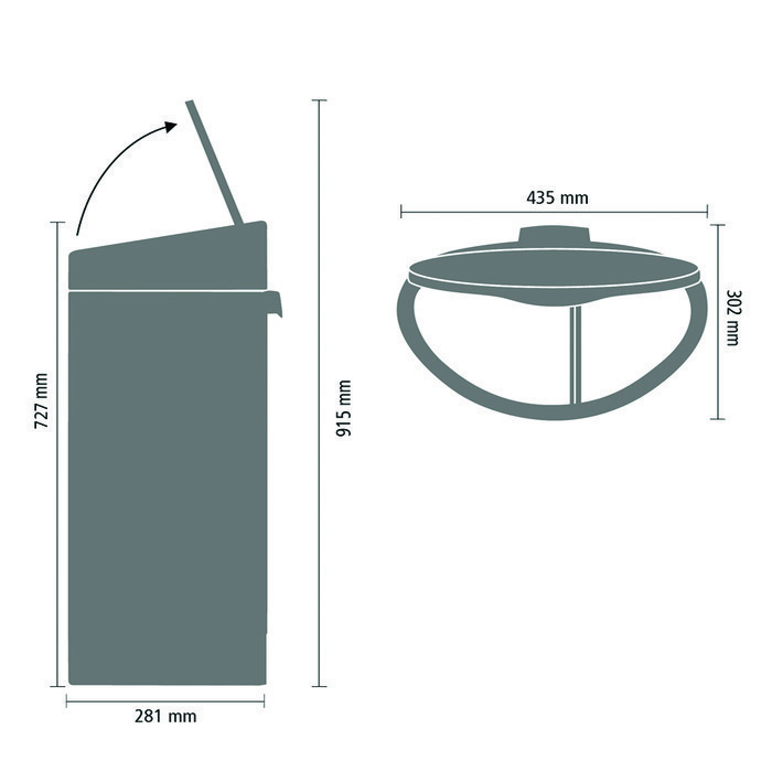 Двухсекционный мусорный бак Touch Bin (10/23л), Платиновый, арт. 117909 - фото 1