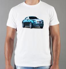 Футболка с принтом Роллс-Ройс (Rolls-Royce) белая 008