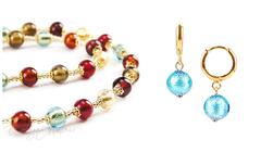 Комплект Carnevale Oro (голубые серьги Piccolo, ожерелье)