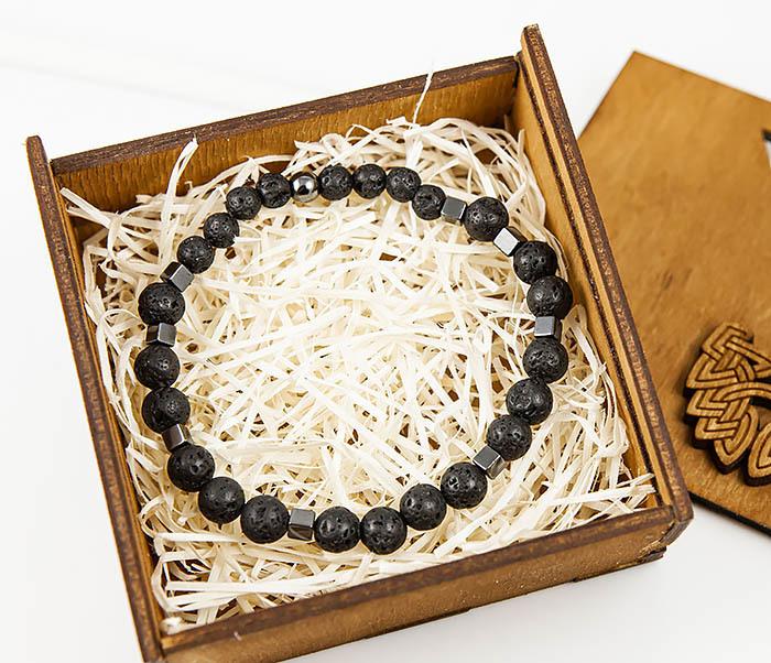 BS777 Стильный мужской браслет из гематита и лавы фото 02