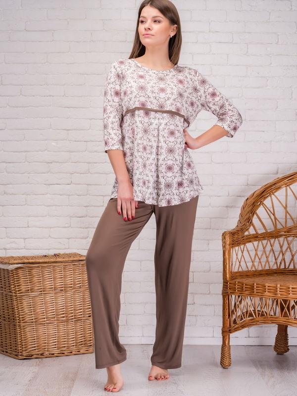 Женский пижамный комплект свободного кроя коричневый 040-11XL