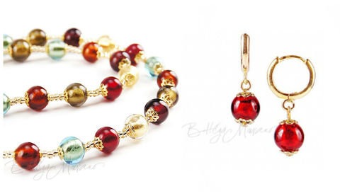 Комплект Carnevale Oro (красные серьги Piccolo, ожерелье)