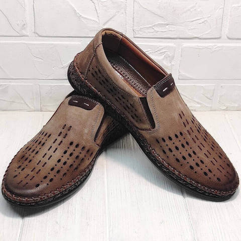 Стиль кэжуал мокасины слипоны мужские. Летние туфли эспадрильи. Кожаные мокасины туфли с перфорацией Luciano Bellini – Coffee.