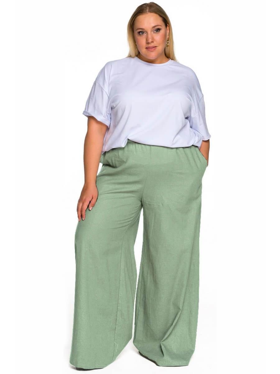 Широкие брюки изо льна фисташковый