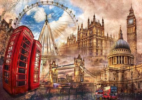 Алмазная Мозаика 40x50 Достопримечательности Лондона (арт. SGJ73063)