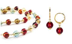 Комплект Carnevale Oro (рубиновые серьги Piccolo, ожерелье)