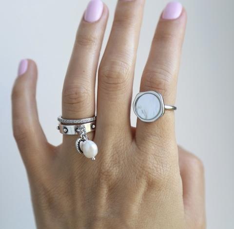 Сет из 3х безразмерных колец (кольцо Круг с перламутром, кольцо с подвеской жемчужина, кольцо с дорожкой цирконов)