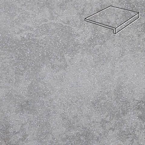 Stroeher - Keraplatte Roccia 840 grigio 294x175x52x10 артикул 4817 - Клинкерная ступень, прямой угол