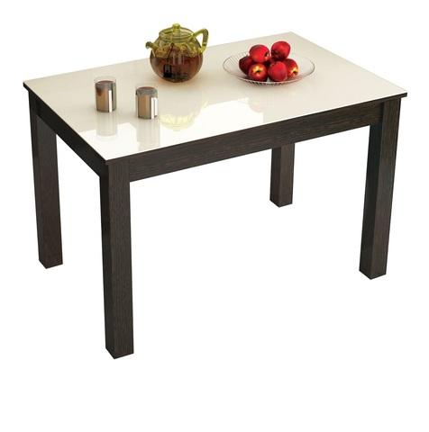 Стол обеденный нераскладной Норман 1200х800 ЛДСП, МДФ ТЭКС орех шоколадный, лакобель ваниль