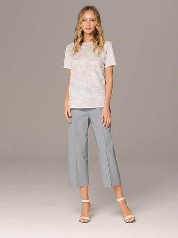Женские классические брюки серого цвета из хлопка - фото 1