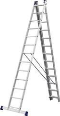 Лестница СИБИН универсальная,трехсекционная со стабилизатором, 13 ступеней