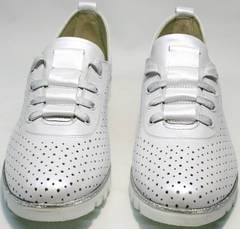 Туфли на шнуровке женские летние Mi Lord 2007 White-Pearl.