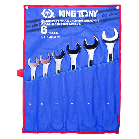 KING TONY (1296MRN) Набор комбинированных ключей, 34-50 мм, 6 предметов