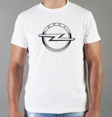 Футболка с принтом Опель (Opel) белая 003