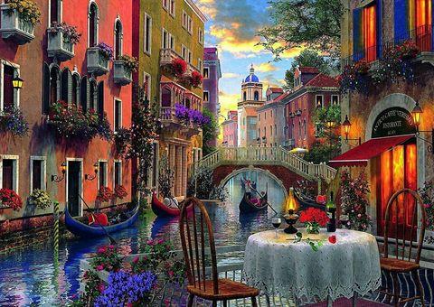 Алмазная Мозаика 40x50 Романтический ужин в Венеции (арт. SGL72373)
