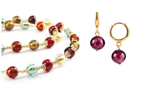 Комплект Carnevale Oro (фиолетовые серьги Piccolo, ожерелье)