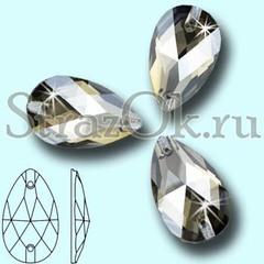 Стразы пришивные стеклянные Drope Silver Shadow, Капля Сильвер Шэдоу серебряный