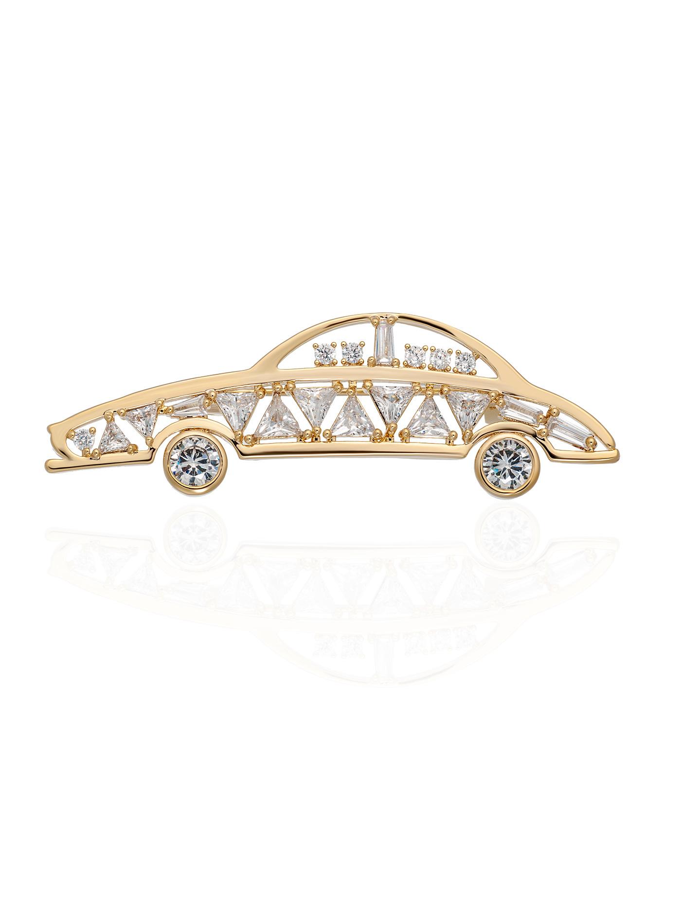 Брошь Машинка с кристаллами в подарочной коробке, стильные подарки