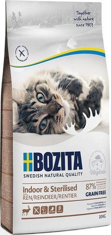 Bozita Indoor & Sterilized Grain Free Reindeer Сухой корм для взрослых стерилизованных котов и кошек живущих дома с мясом оленя (беззерновой)