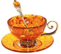"""Янтарная чайная чашка в наборе из 3 предметов, серия """"Антик"""""""
