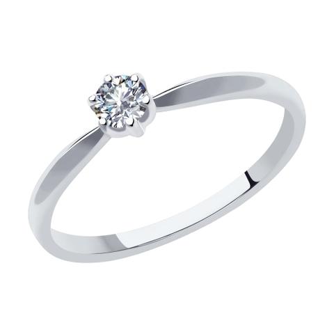 1011978 - Кольцо из белого золота с бриллиантом в стиле Тиффани
